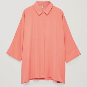 COS Coral Boxy Button Front Shortsleeved Blouse